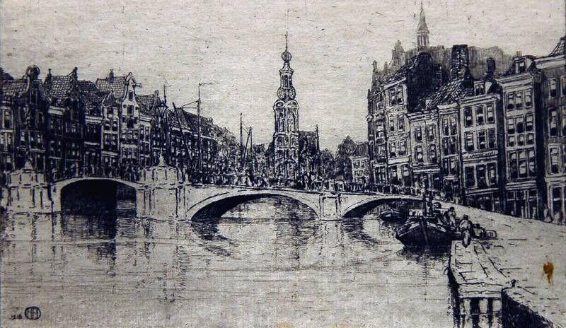 Stadsgezicht Amsterdam (Munt ?). Amstel naar de Munttoren gezien