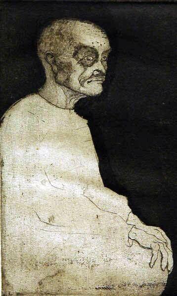 Oude man met handen op de knieën
