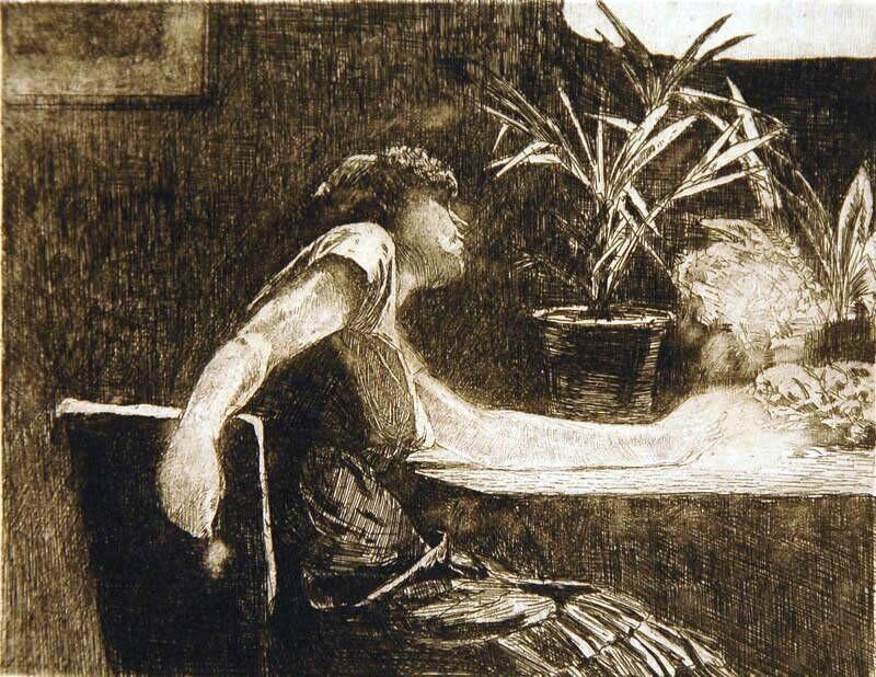 De vrouw aan de bloementafel