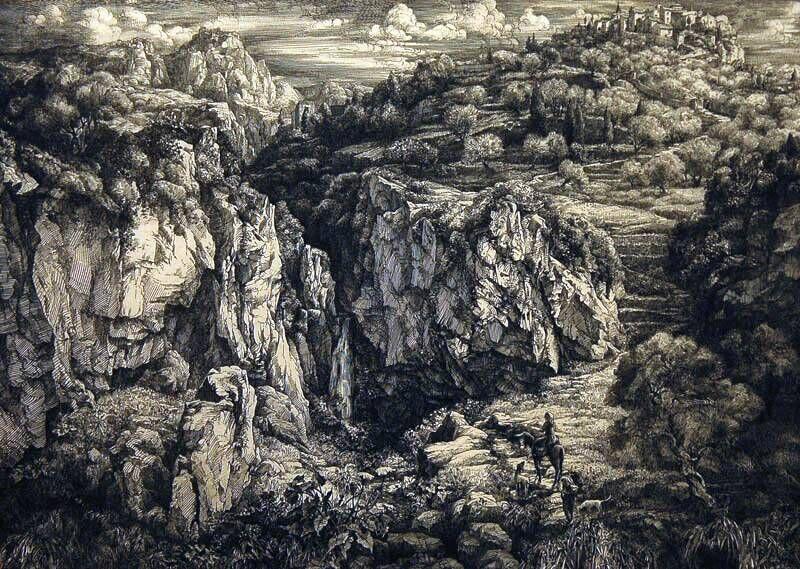 Berglandschap met rechts dorpje