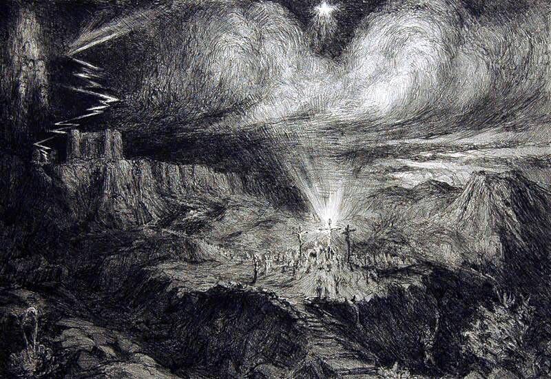 Kruisiging van Jezus op Calvari Berg
