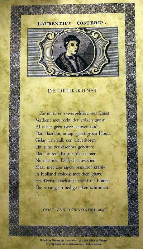 Laurentius Costerus; 'De Drukkunst' door Joost van den Vondel