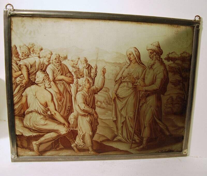 Glas-in-lood fragment met de verkoop van Jozef als slaaf