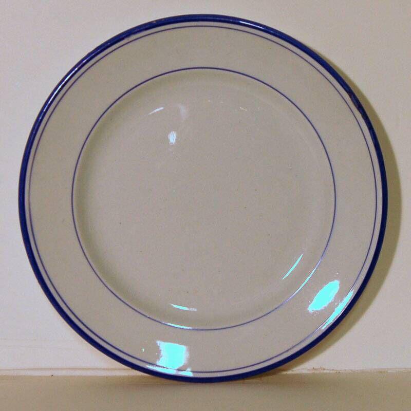Speelgoedservies, wit met blauw randje: plat bord