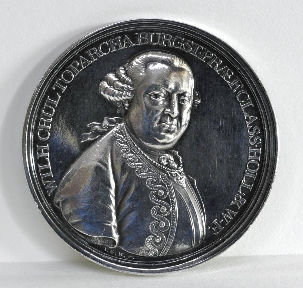 Gedenkpenning ter herinnering aan het sneuvelen van schout-bij-nacht Willem Crul, heer van Burgst (25-11-1721/4-2-1781) in 1781.